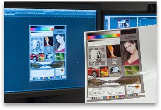 Comparaison tirage/écran lors du calibrage d'une imprimante