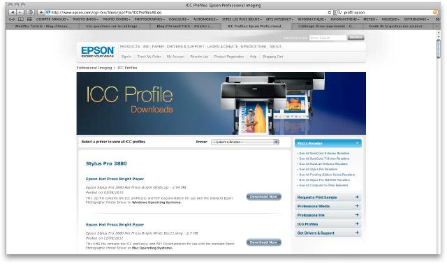 Site Epson pour télécharger des profils ICC génériques