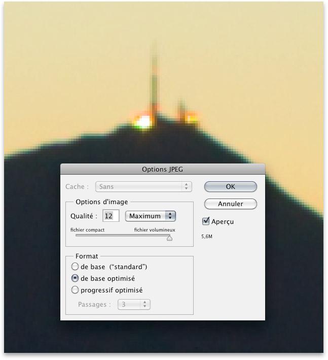Image enregistrée en JPEG qualité 12 dans Photoshop et affichée à 500%