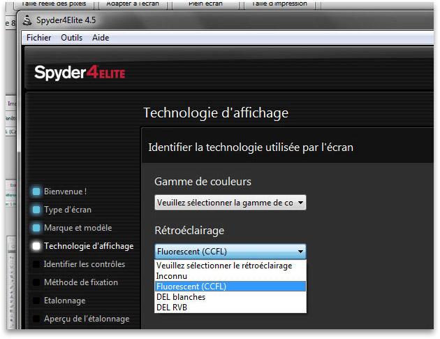 Choix de la technologie d'écran dans le logiciel Spyder4Elite