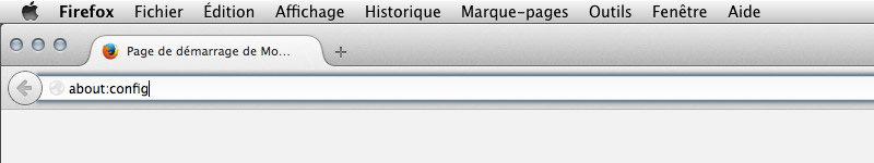 Tapez : About:config dans Firefox