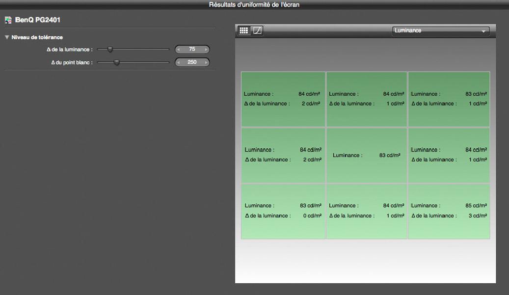 Rapport d'harmonisation en luminance de l'écran Benq PG2401PT